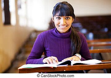 klasa, kolegium, młody, samiczy student