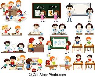 klasa, komplet, sceny, dzieci