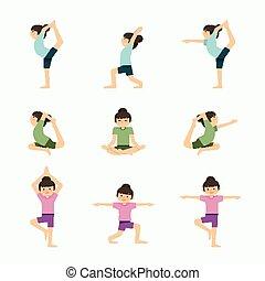 klasa, komplet, yoga, illustration., zdrowy, concept., wektor, exercises., styl życia, dziewczyna, lekcja