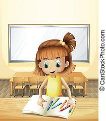 klasa, kredki, jej, wnętrze, książki, dziewczyna