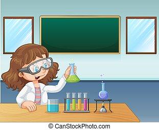 klasa, laboratorium, dziewczyna