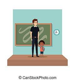 klasa, męski nauczyciel, uczeń