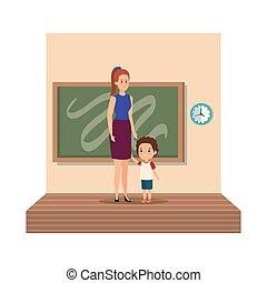 klasa, młody, scena, samiczy nauczyciel, uczeń