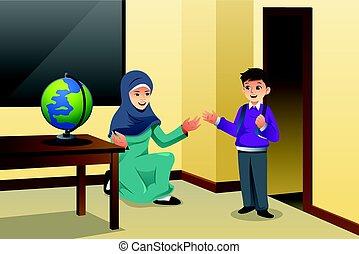 klasa, muslim, nauczyciel, koźlę