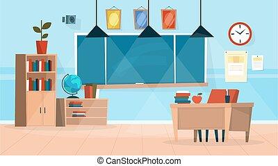 klasa, nauczyciel, interior., chalkboard, biurko