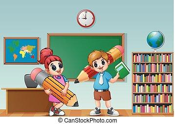 klasa, ołówek, dzieciaki, rysunek, dzierżawa