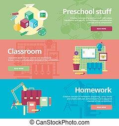 klasa, płaski, komplet, homework., sieć, materials., preschool, projektować, pojęcia, druk, chorągwie, wykształcenie