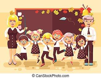 klasa, płaski, styl, uczniowie, posiedzenie, podręczniki, ...