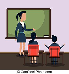 klasa, rysunek, nauczyciel