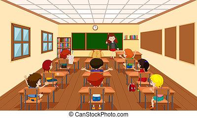 klasa, scena, dzieci