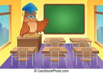 klasa, sowa, nauczyciel