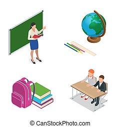 klasa, stoły, mały, chairs., uczniowie, płaski, studenci, sometric, isometric, lesson., biurko, teacher., szkoła, zielony, nauczycielstwo, chalkboard, 3d, rysunek, illustration.