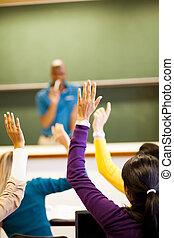 klasa, studenci, grupa, herb do góry