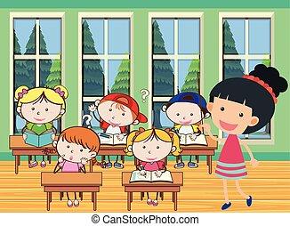 klasa, studenci, nauczyciel, nauka, dużo