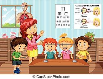 klasa, studenci, nauczyciel, nauka