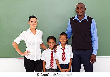 klasa, studenci, szkoła, główny, nauczycielstwo