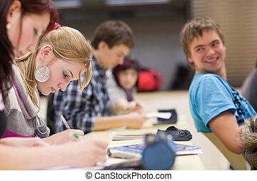 klasa, student, posiedzenie samica, kolegium, ładny