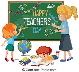 klasa, szczęśliwy, tekst, nauczyciel, dzień, tablica, nauczycielski, dzieciaki