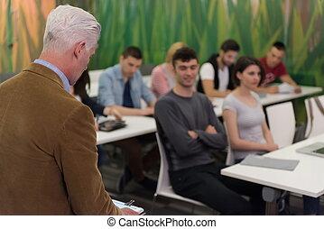 klasa, szkoła, grupa, studenci, cześć, nauczyciel