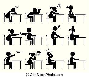 klasa, szkoła, piktogram, studenci, set., pozować, days.,...