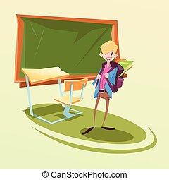 klasa, szkoła, uczeń, plecak, biurko