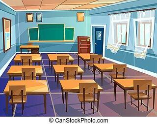 klasa, szkoła, uniwersytet, rysunek, wektor, albo