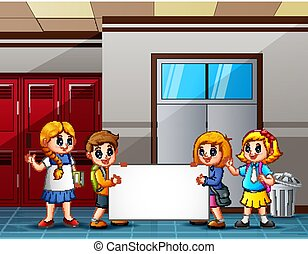 klasa, szkoła, znak, dzierżawa, czysty, przód, dzieci