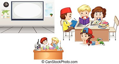 klasa, whiteboard, opróżniać