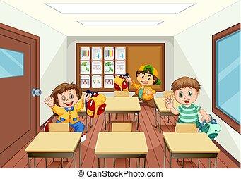 klasa, zabawa, dzieciaki, posiadanie