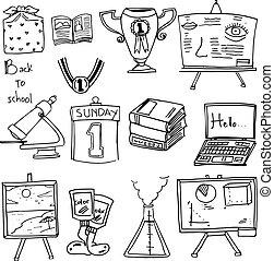 klasa, zaopatruje, szkoła, wstecz, doodles