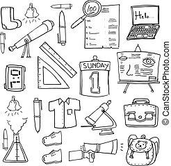 klasa, zaopatruje, szkoła, wykształcenie, doodles