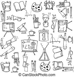 klasa, zaopatruje, zbiór, doodles