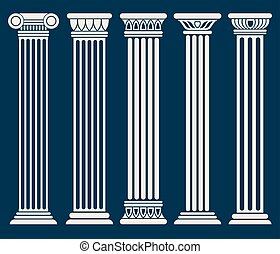 klasik, římský, řek stavebnictví, sloupec, vektor, dát