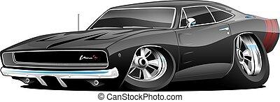 klasik, americký, sval, vůz, karikatura