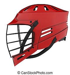 klasik, lacrosse, helmet., stěna, ohledat.