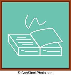 klaslokaal, boek, open, plank, tekening