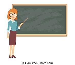 klaslokaal, bord, jonge, vrouwlijk, les, leraar
