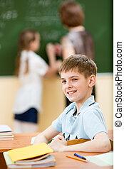 klaslokaal, de les van de school, geitje