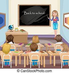 klaslokaal, geitjes, illustratie