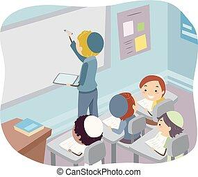 klaslokaal, geitjes, stickman, joodse , illustratie, jongens