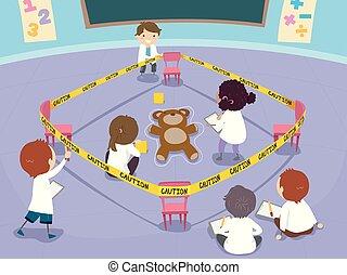 klaslokaal, geitjes, stickman, scène, misdaad, les