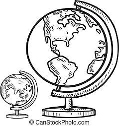 klaslokaal, globe, schets