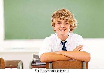 klaslokaal, gymnasium student, zittende