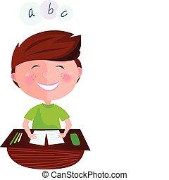 klaslokaal, het glimlachen meisje, vrolijke