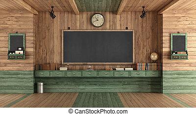 klaslokaal, houten, stijl, retro, lege