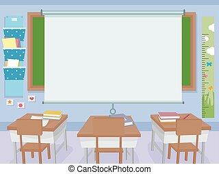 klaslokaal, interieur, scherm, projector