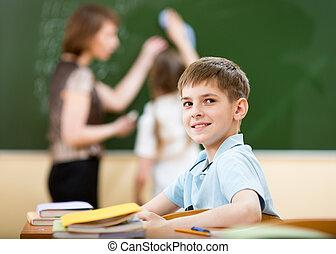 klaslokaal, jongen, de les van de school
