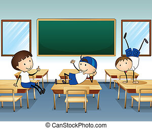 klaslokaal, jongens, binnen, drie, spelend