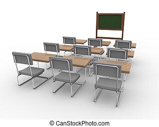 klaslokaal, lege, 3d