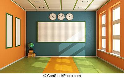 klaslokaal, lege, kleurrijke